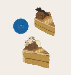 set of cake coffe cake skatech vector image vector image
