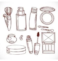 Set of doodles on cosmetics creameye shadow vector image