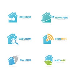 set of real estate logo combination house and vector image vector image