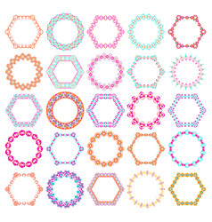 set of round and hexagon decorative frames vector image vector image