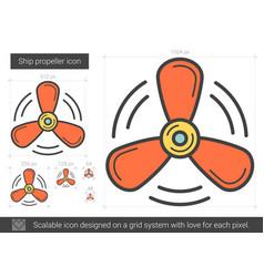 ship propeller line icon vector image vector image