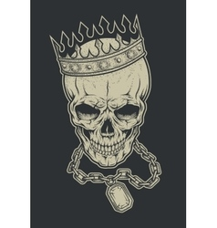 Skull with crown and chain vector image vector image