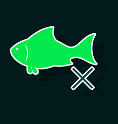 sticker fish drawing seafood great for menu vector image vector image