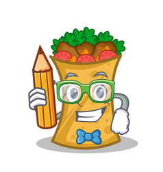 Student with pencil kebab wrap character cartoon vector
