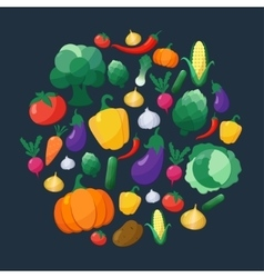 Vegetables Flat Style Icons Set in Circle vector image
