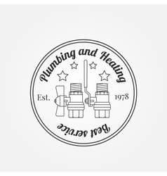 Vintage logos labels and badges plumbing heating vector