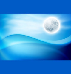 Water wave at night with full moon vector