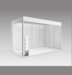 white booth with brochure holder on background vector image vector image