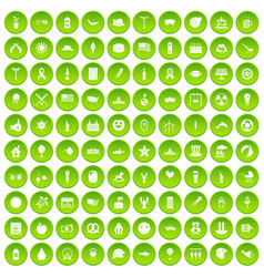 100 summer holidays icons set green vector