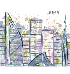 Dubai abstract cityscape with watercolor splashes vector