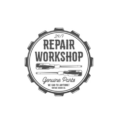 Vintage label design repair workshop patch in old vector