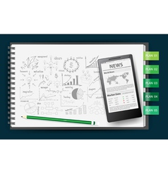 Notebook paper with drawing business plan vector image