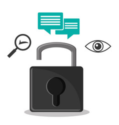 Cyber secuirty padlock message privacy vector
