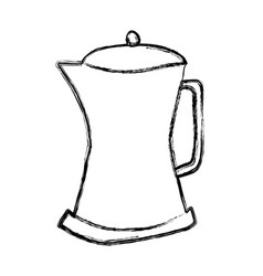 Monochrome sketch hand drawn of metallic kettle of vector