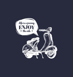 hand sketched scooter banner with motivational vector image