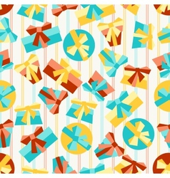 Happy birthday party seamless pattern with gifts vector