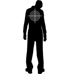 Silhouette of downcast man with target on his back vector