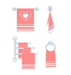 Set icons towel rack vector