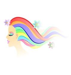 Fantasy girl with bright colorful airy hair and vector