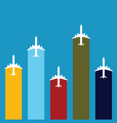 Airplane travel in color set vector