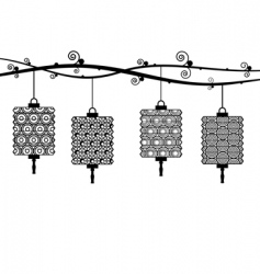 paper lanterns vector image