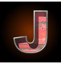 Old metal letter j vector