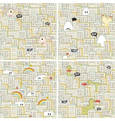 Set of seamless patterns with hungry monsters vector