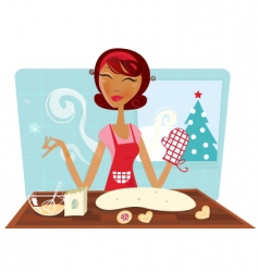Christmas woman baking cookies vector