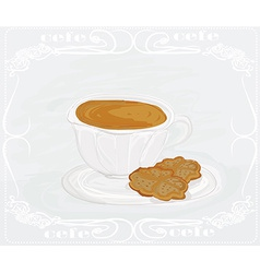 Cup of coffee with abstract design elements vector image