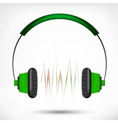 Green headphones vector