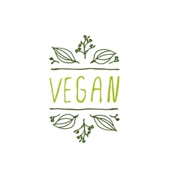 Vegan product label on white background vector