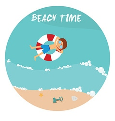 Summer beach in flat design sea side and beach vector