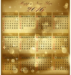 Calendar 2016 starting from sunday vector