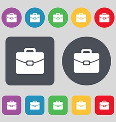 Suitcase icon sign a set of 12 colored buttons vector