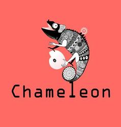 Graphic image sitting on the chameleon plan vector