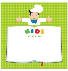 Design template for kids menu with funny cook boy vector