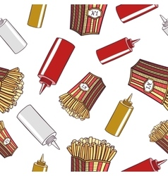 Seamless pattern fast food french fries vector