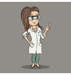 Cartoon young female scientist character vector