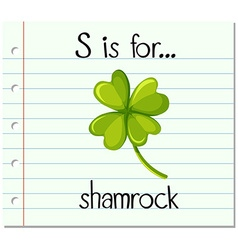 Flashcard letter s is for shamrock vector