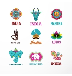 India - set of indian icons ganesh elephant vector