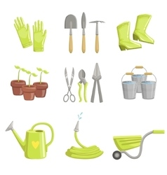 Gardening equipment set of icons vector