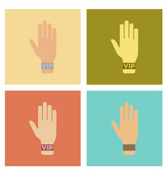 Assembly flat icons poker hand vip vector