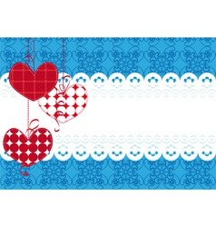 background with hearts and lace vector image