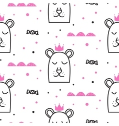 Bear princess line fun seamless pattern for kids vector