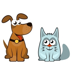 Cartoon isolated dog and cat vector
