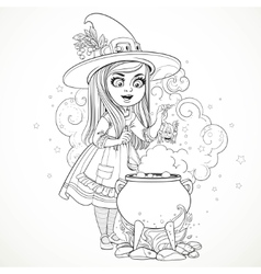 Cute little girl dressed as a witch throwing frog vector image