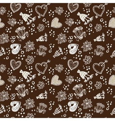 Doodle floral seamless pattern sepia dark and vector image