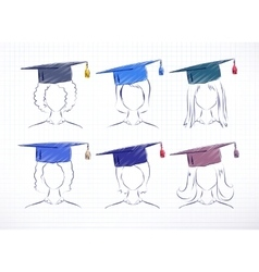 Female degree students vector