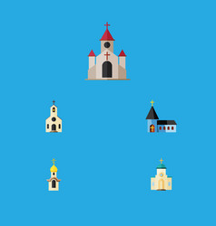 Flat icon church set of structure religious vector