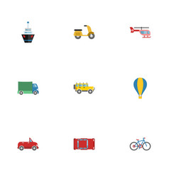 flat icons scooter automotive airship and other vector image vector image